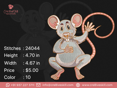 Scared Mouse embroidery digitizing logodesign vectorizing services illustration convert your artworks to vector custom digitization in usa custom computerised embroidery custom embroidery digitizing custom digitizing custom t-shirt desgn