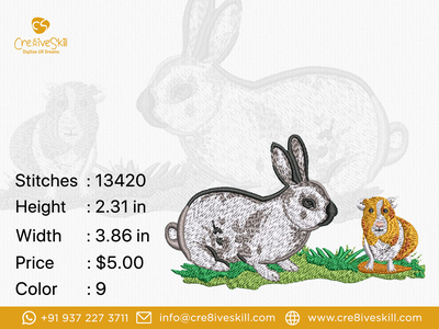 Hare and Bunny logodesign vector vectorizing services embroidery digitizing custom digitization in usa convert your artworks to vector custom embroidery digitizing custom digitizing custom computerised embroidery custom t-shirt desgn