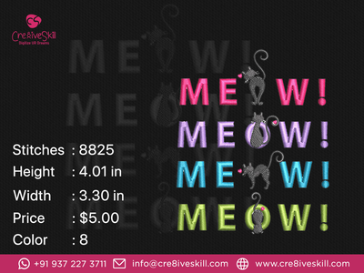 Meow Cat vector design vectorizing services embroidery digitizing convert your artworks to vector custom digitization in usa custom computerised embroidery custom embroidery digitizing custom digitizing custom t-shirt desgn