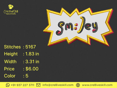 Smiley Sticker design illustration logo embroidery digitizing convert your artworks to vector custom digitization in usa custom computerised embroidery custom embroidery digitizing custom digitizing custom t-shirt desgn