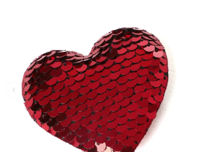 Sequin Heart for Valentine's Day Special sequin embroidery heart special gift for valentines day valentines day valentine gifts special valentine gifts ideas for valentines cute valentines gifts ideas creative valentines day gifts