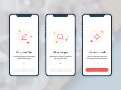 Recipe app onboarding screens (concept)