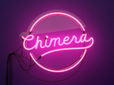 Chimera Neon Sign neon sign chimera logo 3d vray pink light glow 80s retro colorful