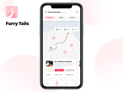 Furry Tails - Maps street navigator card mobile app mobile uiux maps pets pet minimal iphone inspiration tails furry elegant designflows design app