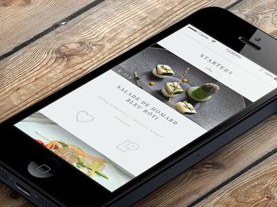 Elegant Restaurant app for iPhone - Menu navigation