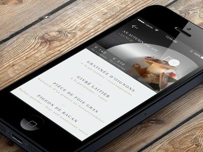 Elegant Restaurant app for iPhone -  Seasonal Menu