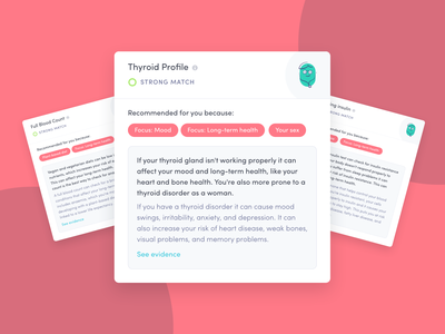 Pick n' Mix Packages 🍭 bryn taylor blood recommendations ux ui startup logo health app healthcare personalised blood test thriva