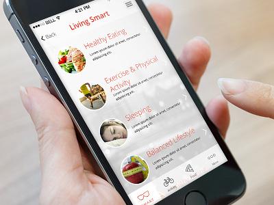 Living Smart Listing listing fitness blog app iphone design