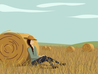 Serene girl in the field