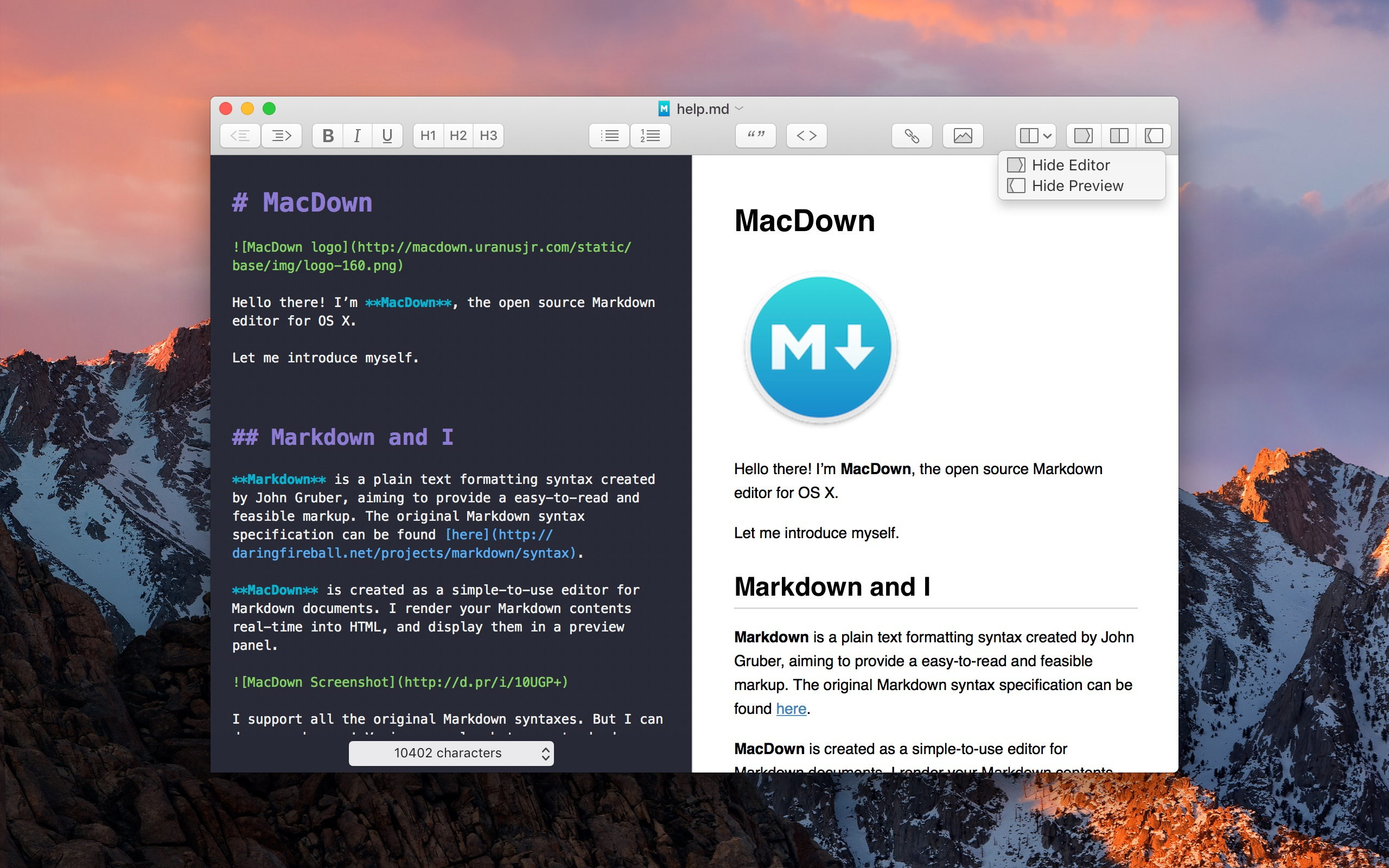 Macdown toolbar