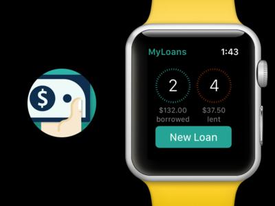 MyLoans - Apple Watch App Icon & UI apple ui design icon app icon apple watch work private