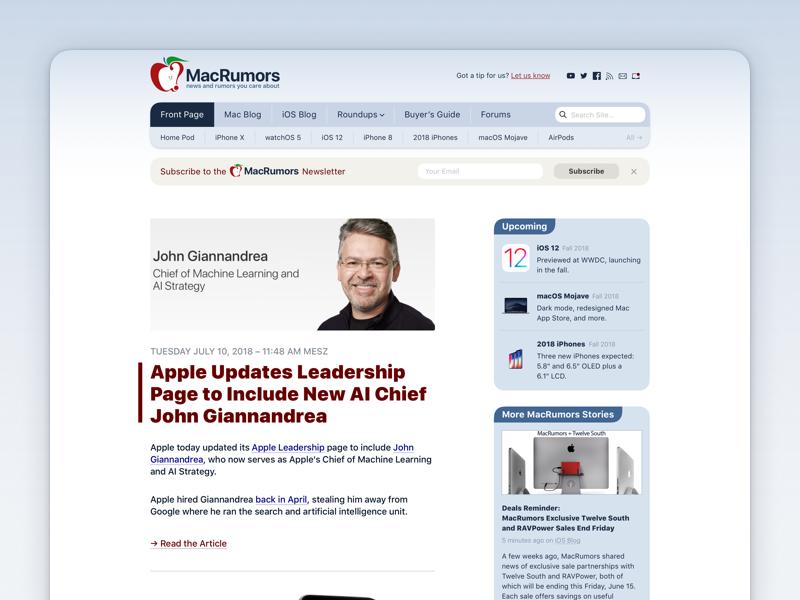 MacRumors redesign (part I) university redesign sf pro website sketch.app webdesign private