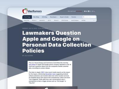 MacRoumors redesign (part II) private webdesign sketch.app website sf pro redesign university