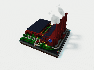 Volkswagen Factory out of Voxels magicavoxel 3d private
