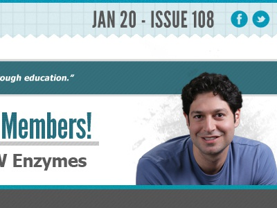 Members! Enzymes! aqua newsletter texture article landing page