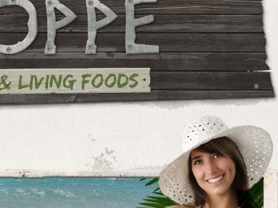 Oppe & Living Foods raw organic tropical wood header signs girl in a big hat