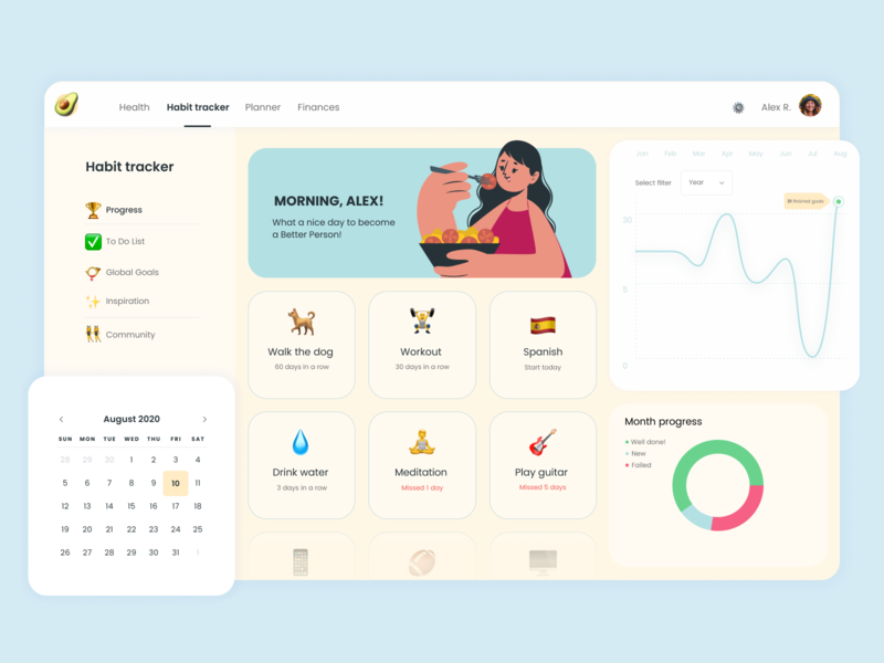 life planning desktop app dashboad desktop app layout illustration ui figma design