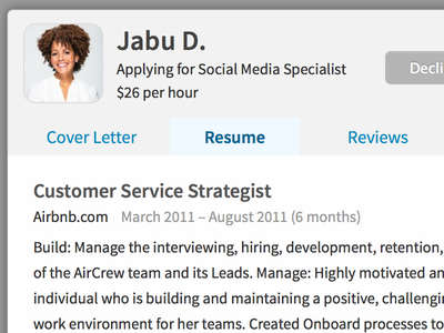 Resume resume profile applicant