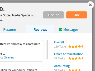 Decline or Hire hiring resume decline accept ratings reviews