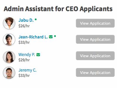 Job Applicants applicants requests