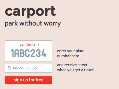 carport.io – park without worry form parking signup webapp website