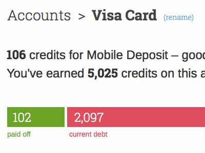 Account Details finance creditcard credit debt gamification webapp ui ux