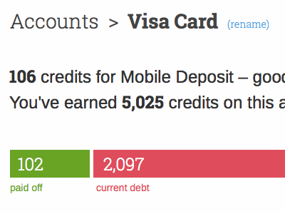 Account Details finance creditcard credit debt gamification webapp ui ux