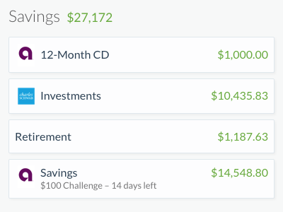 Savings Accounts on SaveUp finance money dashboard web