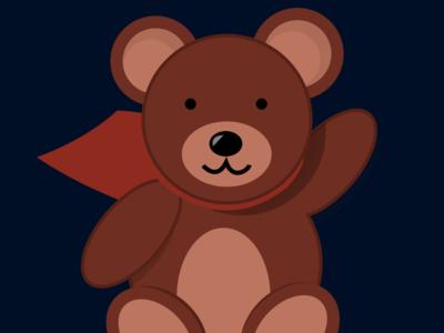 Rem the bear superhero cape mascot cute logo teddy bear