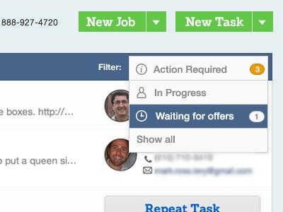 TaskRabbit Filter ui webapp web status tasks navigation nav