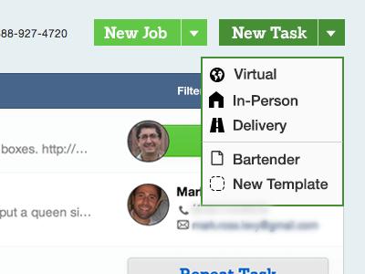 New Task ui webapp web status tasks dropdown