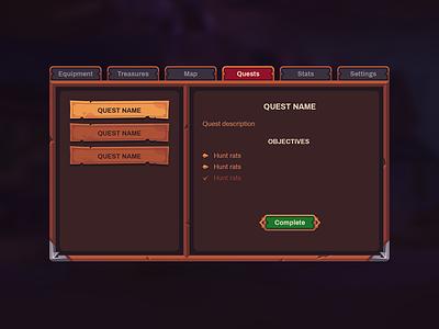 Tiny Guild UI vector menu quest medieval fantasy rpg interface design game ui