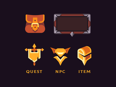 Tiny Guild - UI elements bag backpack inventory goblin chest npc quest medieval game ui fantasy icon design vector