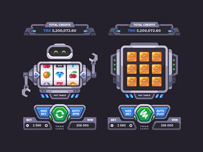 Game machines illustration vector card scratch casino ui robot slot machine design game