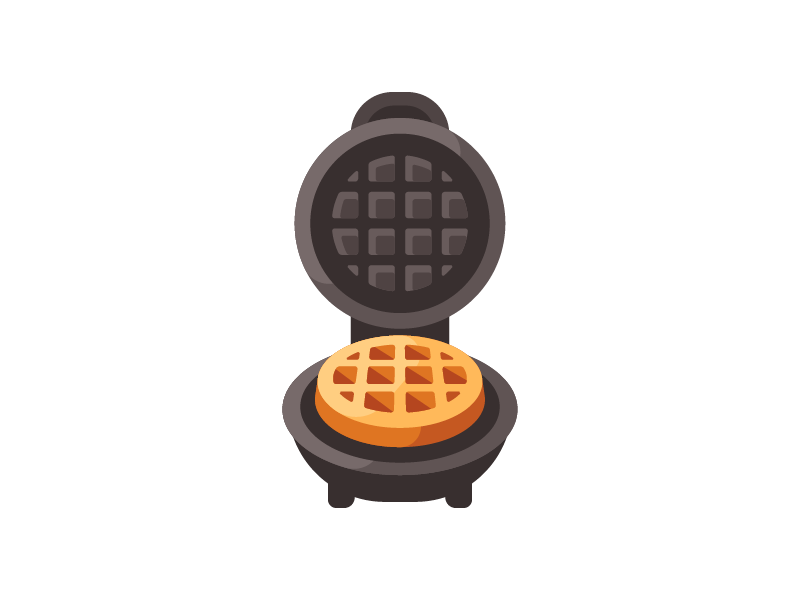 Waffle maker baking cooking kitchen iron maker waffle daily illustration vector design flat