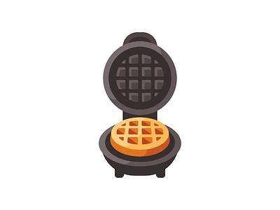 Waffle maker baking cooking kitchen iron maker waffle daily illustration vector design flat