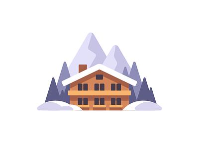 Ski resort house mountain hotel resort winter skiing ski daily illustration vector design flat