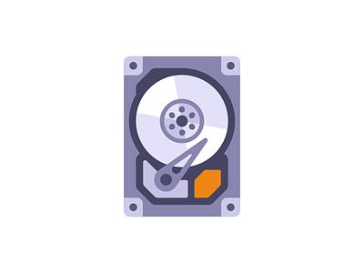 Hard disk icon data storage computer hdd hard disk drive daily illustration vector design flat
