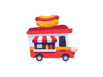 Food truck vector street car truck hot dog design flat icon food fast
