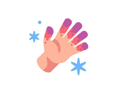 Frostbite winter cold snow icon frostbite hand illustration vector design flat