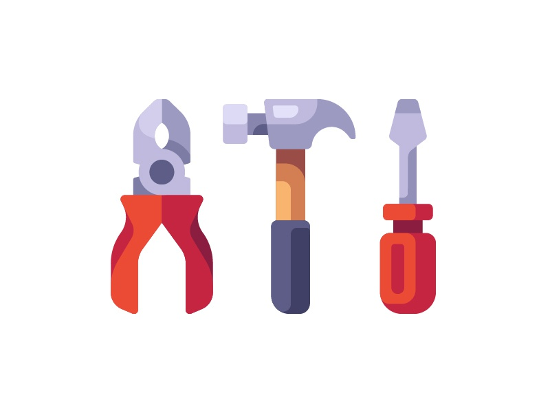 Carpenter tools pliers screwdriver hammer repair tools carpenter daily icon illustration vector design flat