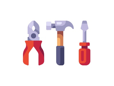 Carpenter tools pliers screwdriver hammer repair tools carpenter daily icon illustration vector design flat