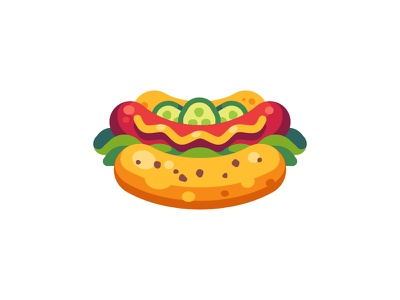 Hot dog salad sausage fast food hot dog daily icon illustration vector design flat