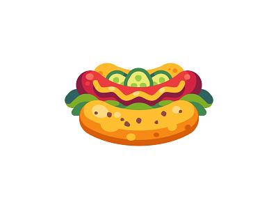 Hot dog salad sausage fast food hot dog daily icon illustration vector design flat