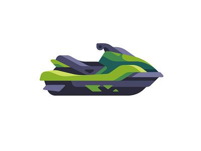 Jet ski extreme sports summer water skiing jet ski daily icon illustration vector design flat