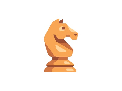 Chess knight game piece horse knight chess daily icon illustration vector design flat