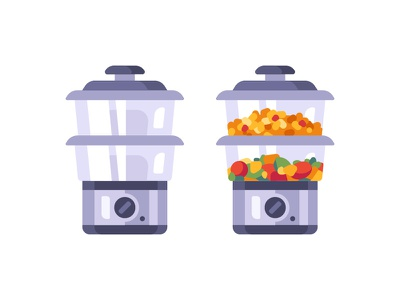 Steamer equipment appliances rice kitchen cooking steamer daily icon illustration vector design flat