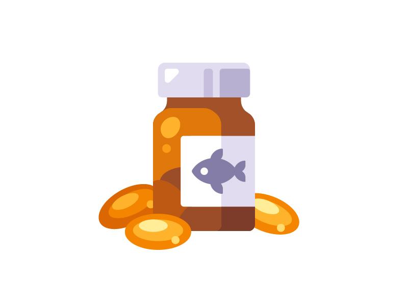 Fish oil omega 3 health vitamin medicine pills fish oil daily icon illustration vector design flat