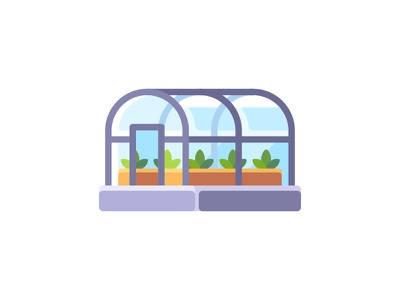 Greenhouse harvest garden agriculture greenhouse daily icon illustration vector design flat