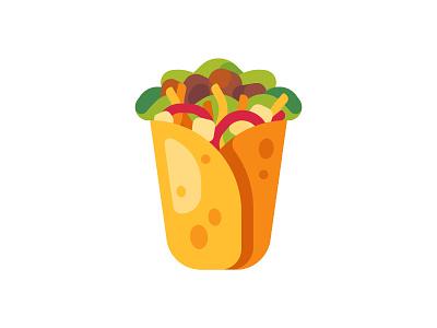 Burrito snack burrito food fast mexican daily icon illustration vector design flat